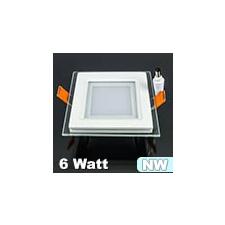 Üveg keretes LED panel (négyzet) - 6 Watt - természetes fényű világítási kellék
