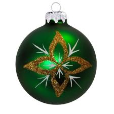 Üvegkarácsonyfadíszek Arany csillag minta matt zöld gömb 10cm-es karácsonyi dekoráció