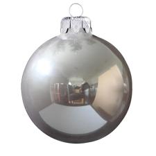 Üvegkarácsonyfadíszek Fényes füst ezüst gömb 8cm-es 6db karácsonyi dekoráció