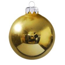 Üvegkarácsonyfadíszek Fényes világos arany gömb 6cm-es 6db karácsonyi dekoráció