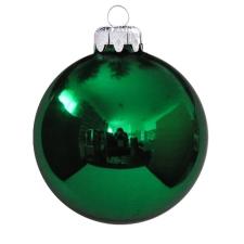 Üvegkarácsonyfadíszek Fényes zöld gömb 10cm-es 4db karácsonyi dekoráció