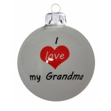 """Üvegkarácsonyfadíszek """"I love my Grandma"""" felirat, fényes fehér gömbön. Rendelje akár névre szólóan! karácsonyi dekoráció"""