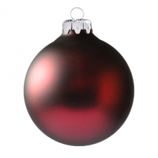 Üvegkarácsonyfadíszek Matt sötét bordó gömb 8cm-es 6db karácsonyi dekoráció