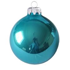 Üvegkarácsonyfadíszek Opál türkizkék gömb 8cm-es 6db karácsonyi dekoráció