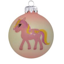 Üvegkarácsonyfadíszek Póni rózsaszín üveggömbön, 8 cm-es karácsonyi dekoráció