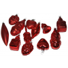 Üvegkarácsonyfadíszek Red 12db figura