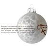 Üvegkarácsonyfadíszek Üdvözlégy Mária jégvirágos fehér üveggömbön, 8 cm-es
