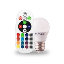 V-tac LED lámpa E27 (3.5W/180°) Kisgömb - RGB+NW+RF távirányítható izzó
