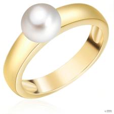 ValeroPearls ValeroGyöngys gyűrű Sterling ezüst sárga aranyozott Süßwasser-ZuchtGyöngy Fehér gyűrű 54 gyűrű