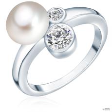 ValeroPearls ValeroGyöngys gyűrű Sterling ezüst Süßwasser-ZuchtGyöngy Fehércirkónia Fehér gombform gyűrű 60