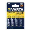 Varta 4106 - 4 db alkáli elem LONGLIFE EXTRA AA 1,5V
