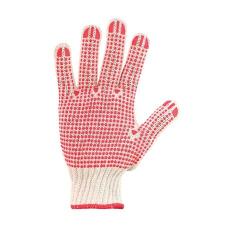 Védőkesztyű, kötött, csúszásgátló pöttyökkel, 7 méret, fehér/piros védőkesztyű