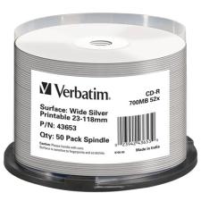 Verbatim CD-R lemez, nyomtatható ezüst felület, matt, no-ID, AZO, 700MB, 52x, hengeren, írható és újraírható média
