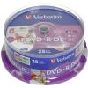 Verbatim DVD + R 8x kétrétegű nyomtatható 25ks cakebox