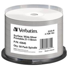 Verbatim DVD-R lemez, nyomtatható ezüst felület, no-ID, 4,7GB, 16x, hengeren, VERBATIM írható és újraírható média