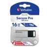 "Verbatim Pendrive, 16GB, USB 3.0, 100/20MB/sec, VERBATIM ""Secure Pro"", ezüst"