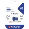 """Verbatim Pendrive, 32GB, USB 3.0+USB-C adapter, VERBATIM, """"DUAL"""""""