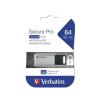 """Verbatim Pendrive, 64GB, USB 3.0, 100/35MB/sec, PC & MAC, GDPR, """"SECURE DATA PRO"""", szürke"""