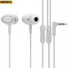 Vezetékes sztereó fülhallgató, 3.5 mm jack, felvevő gomb, 3 pár fülgumi, Remax, fehér