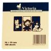 VICTORIA Öntapadó jegyzettömb, 75x75 mm, 100 lap, VICTORIA, sárga