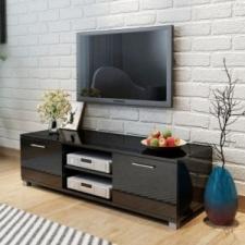vidaXL 120x40,3x34,7 cm TV szekrény magasfényű fekete bútor