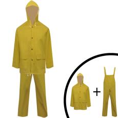 vidaXL 2 darabos vízálló nagy teherbírású csuklyás eső ruha méret L sárga