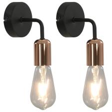 vidaXL 2 db fekete-rézszínű falilámpa izzókkal 2 W E27 világítás