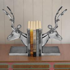 vidaXL 2 db-os szarvas könyvtámasz, alumínium-ezüst gazdaság, üzlet