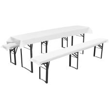 vidaXL 3 db védőhuzat sör asztalnak és padoknak 240 x 90 cm fehér bútor