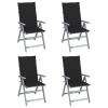vidaXL 4 db dönthető tömör akácfa kerti szék párnával