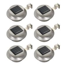 vidaXL 6 db kerek fehér kültéri napelemes LED lámpa, 12 cm kültéri világítás