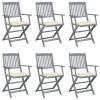 vidaXL 6 db összecsukható tömör akácfa kültéri szék párnákkal