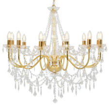 vidaXL aranyszínű csillár gyöngyökkel és 12 db E14 izzófoglalattal kültéri világítás