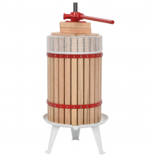 vidaXL bor- és gyümölcsprés textilzsákkal 24 L tölgyfa gyümölcsprés és centrifuga