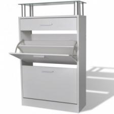 vidaXL Cipőszekrény fiókkal és üveg felső polccal fa fehér kerti bútor