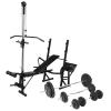 vidaXL edzőpad állvánnyal, egykezes és kétkezes súlyzószettel 90 kg