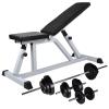 vidaXL edzőpad egykezes és kétkezes súlyzókészlettel 30,5 kg