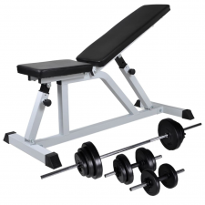 vidaXL edzőpad egykezes és kétkezes súlyzókészlettel 30,5 kg edzőpad
