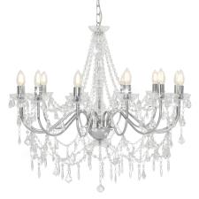 vidaXL ezüstszínű csillár gyöngyökkel és 12 db E14 izzófoglalattal kültéri világítás