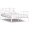 vidaXL fehér fém ágykeret lécezett ágyráccsal 140 x 200 cm