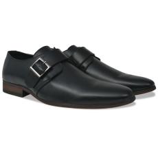 vidaXL Fekete férfi csatos cipő 45-ös méret PU bőr
