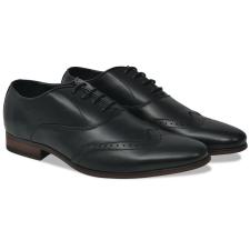 vidaXL Férfi fűzős alkalmi félcipő fekete 41-es méret PU bőr férfi cipő