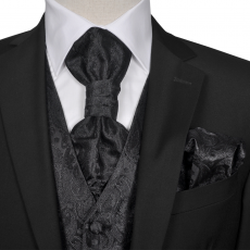 vidaXL Férfi Praisley esküvői mellény szett méret 52 fekete