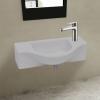 vidaXL Kerámia fürdőszoba mosdókagyló csaptelep lyukkal fehér