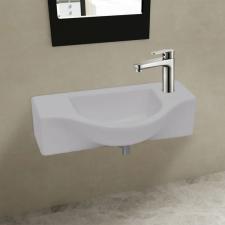 vidaXL Kerámia fürdőszoba mosdókagyló csaptelep lyukkal fehér csaptelep