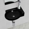 vidaXL Kerek kerámia fürdőszoba mosdókagyló csaptelep és túlfolyó fekete
