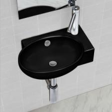 vidaXL Kerek kerámia fürdőszoba mosdókagyló csaptelep és túlfolyó fekete csaptelep