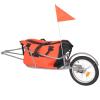 vidaXL kerékpár-utánfutó narancssárga/fekete táskával