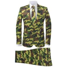 vidaXL kétrészes férfiöltöny nyakkendővel terepszínű mintával 50-es méret