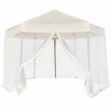 vidaXL Krémfehér, hatszög alakú pavilon 6 db oldalfallal 3,6 x 3,1 m kerti bútor